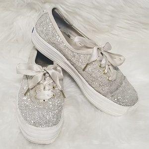 Keds X Kate Spade | Silver Glitter Platform Shoes